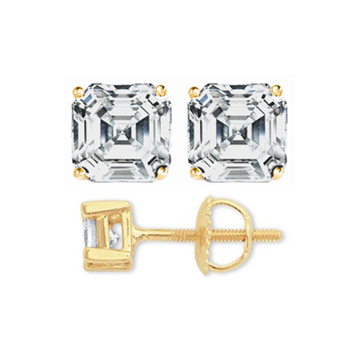 1 tcw. Asscher Diamond Stud Earrings in Yellow Gold H, VS2
