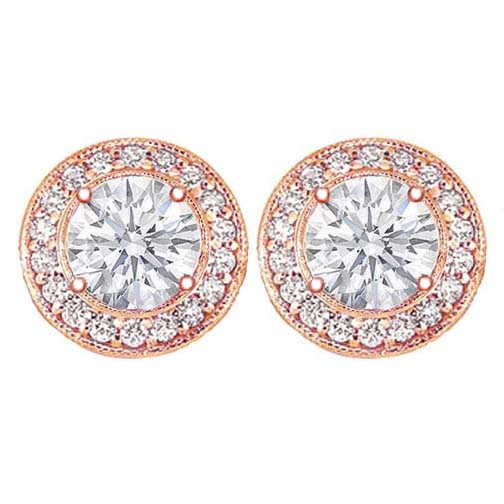 1 1/2 carats tcw. Pave Halo Round Diamond Stud Earrings in Rose Gold H SI2