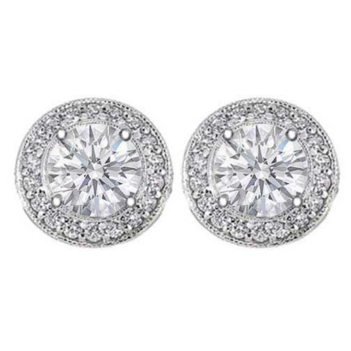 3/4 tcw. Pave Halo Round Diamond Stud Earrings in White Gold H SI2