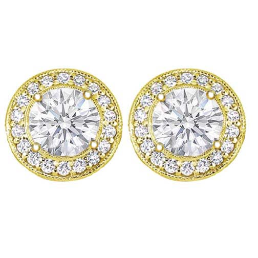 1 1/2 carats tcw. Pave Halo Round Diamond Stud Earrings in Yellow Gold H SI2