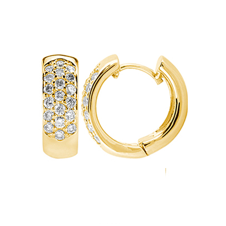 1.56 tcw. Huggie Diamond Earrings in 14 Karat yellow gold, H SI