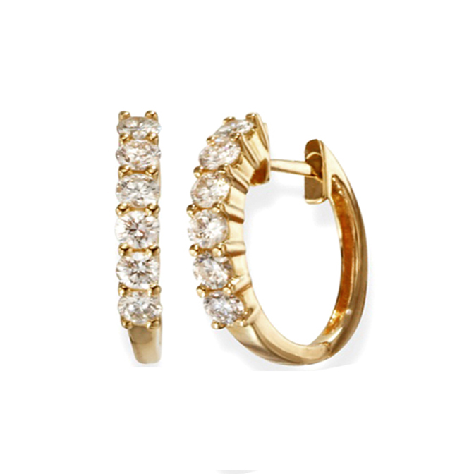 1.50 tcw. Hoop Diamond Earrings in 14 Karat yellow gold, H SI