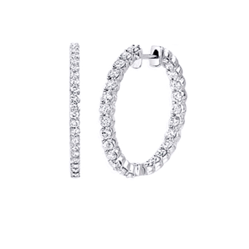 10.40 tcw. Hoop Diamond Earrings in 14 Karat white gold, H SI