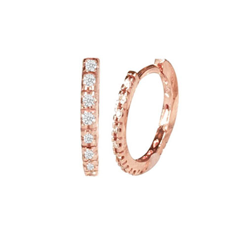 0.80 tcw. Hoop Diamond Earrings in 14 Karat rose gold, H SI