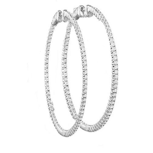 Hoop Diamond Earrings In 14 Karat White Gold H Si