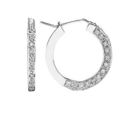 1.20 tcw. Pave Set Hoop Diamond Earrings in 14 Karat white gold, H SI