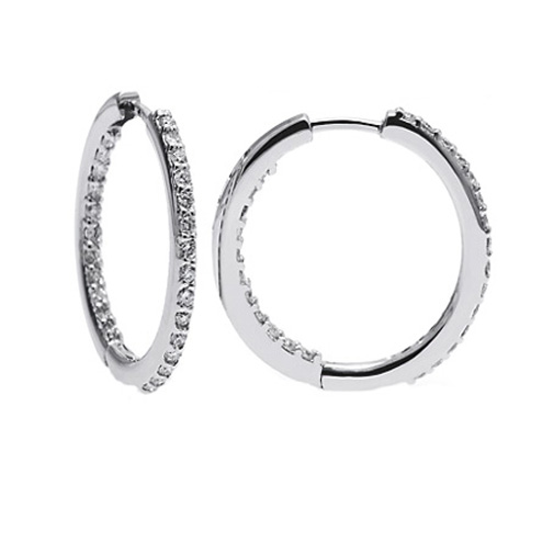 1.38 tcw. Prong Set Hinged Hoop Diamond Earrings in 14 Karat white gold, H SI