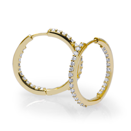1.38 tcw. Prong Set Hinged Hoop Diamond Earrings in 14 Karat yellow gold, H SI