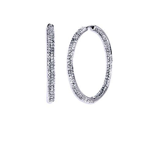 4.11 tcw. Pave Set Hinged Hoop Diamond Earrings in 14 Karat white gold, H SI