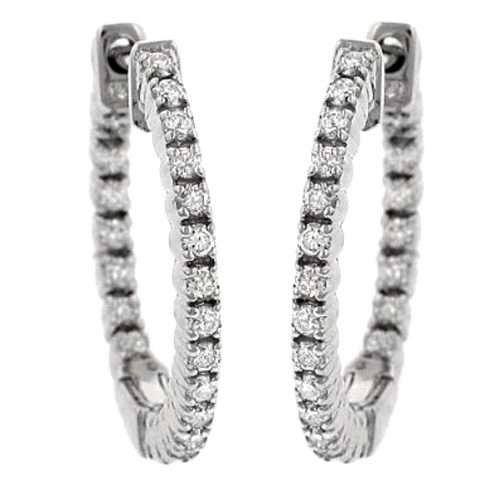 2.20 tcw. U Prong Set Hoop Diamond Earrings in 14 Karat white gold, H SI