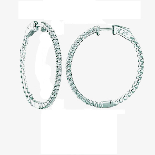 4.15 tcw. Hoop Diamond Earrings in 14 Karat white gold, H SI