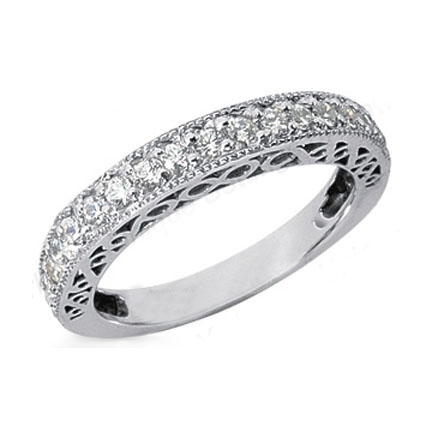 Round Diamond Wedding Band 0.57 tcw. Pave Set In 14K White Gold
