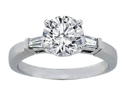 Tapered Baguette Diamond Platinum Engagement Ring  0.20 tcw.