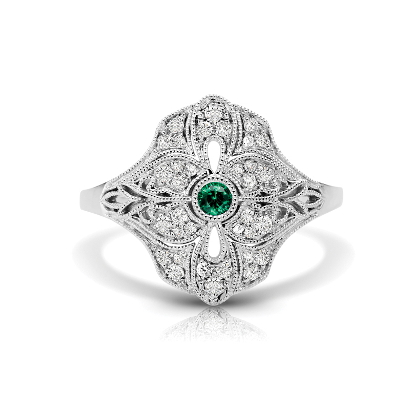 Art Deco Inspired Diamond & Emerald Fashion Ring