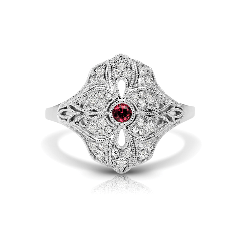 Art Deco Inspired Diamond & Ruby Fashion Ring