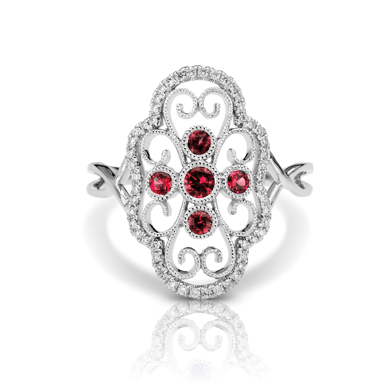 Large Art Deco Filigree Diamond & Rubies Split Band Fashion Ring