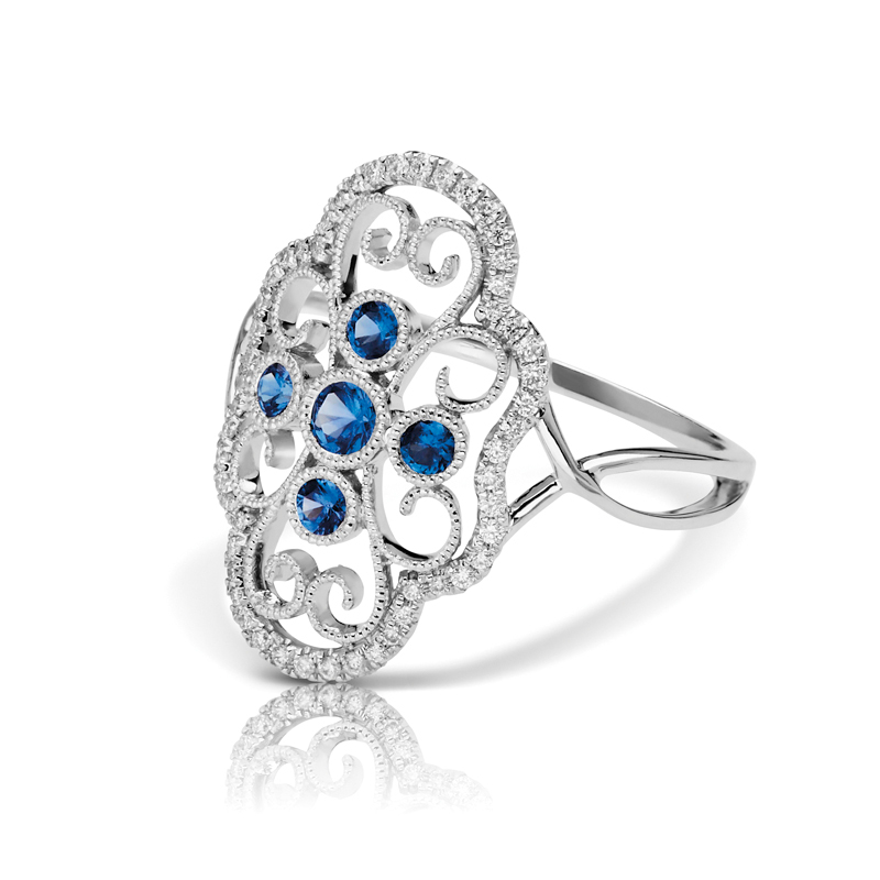 Large Art Deco Filigree Diamond & Blue Sapphire Split Band Fashion Ring