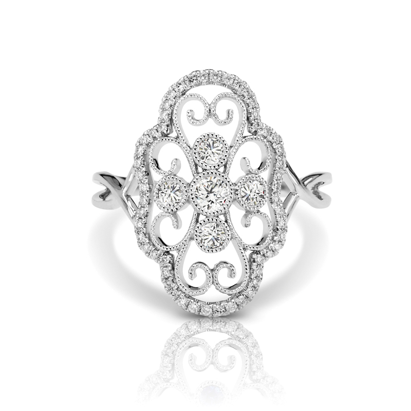 Large Art Deco Filigree Diamond Split Band Fashion Ring