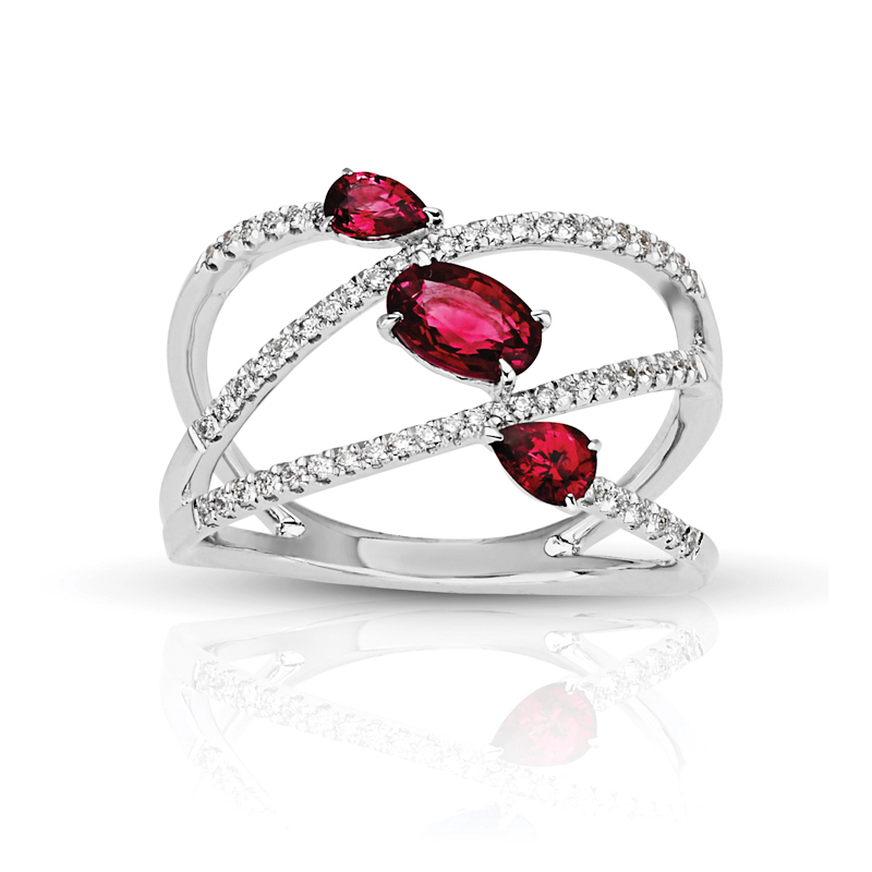 Three Stone Oval & Pear Rubies in Split Diamond Band
