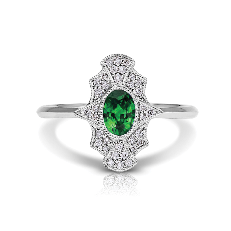 Oval Emerald Halo Diamond Petite Ring