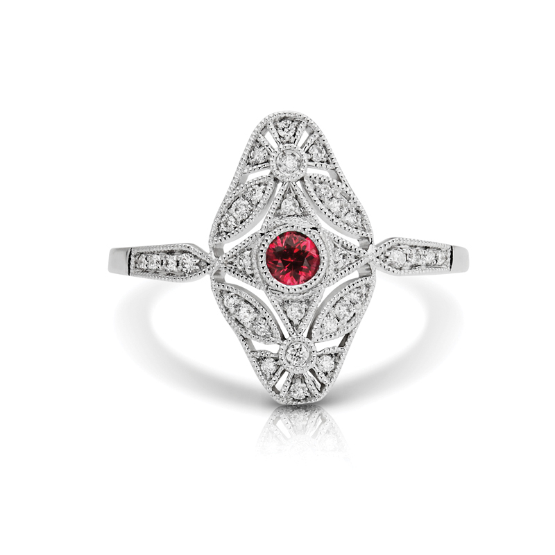 Elongated Art-Deco Ruby & Diamond Fashion Ring