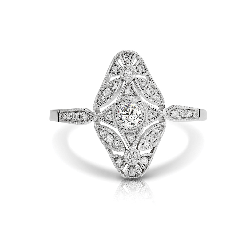 Elongated Art-Deco Diamond Fashion Ring