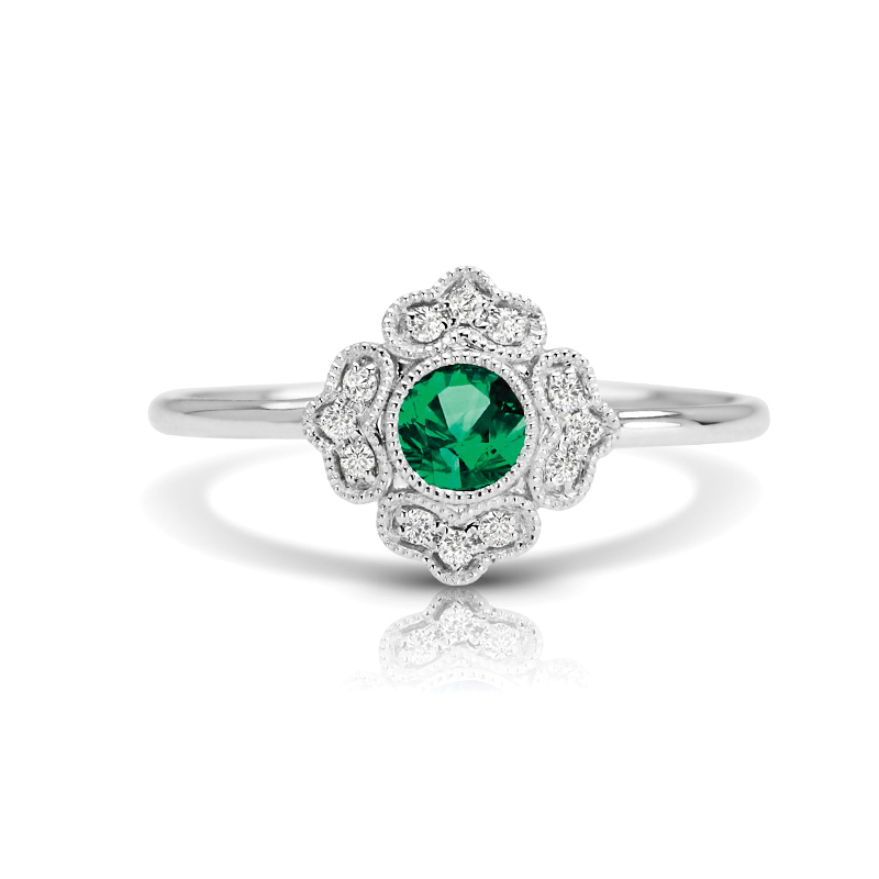 Floral Halo Petite Diamond & Emerald Ring