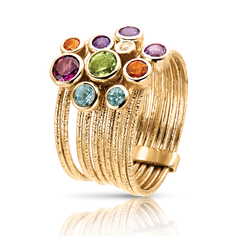 Multi Color Gem Stones Ring in Gold