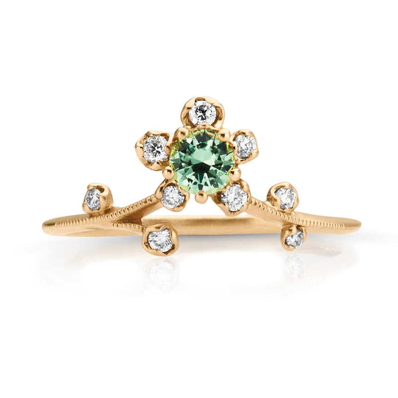 Gem Stone Halo Flower, Petite Vine Diamond Band in Gold