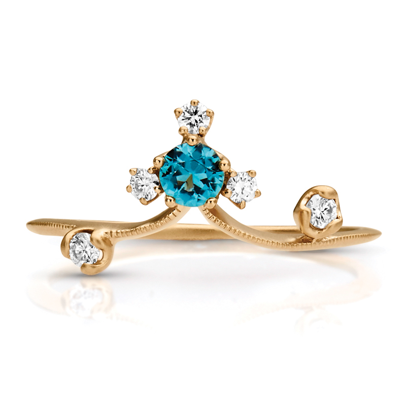 Petite Vintage Gemstone & Diamond Crown Ring