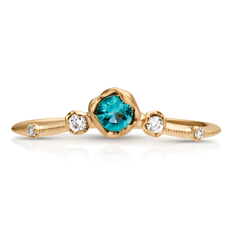 Petite Vintage Gemstone & Diamond Curved Ring
