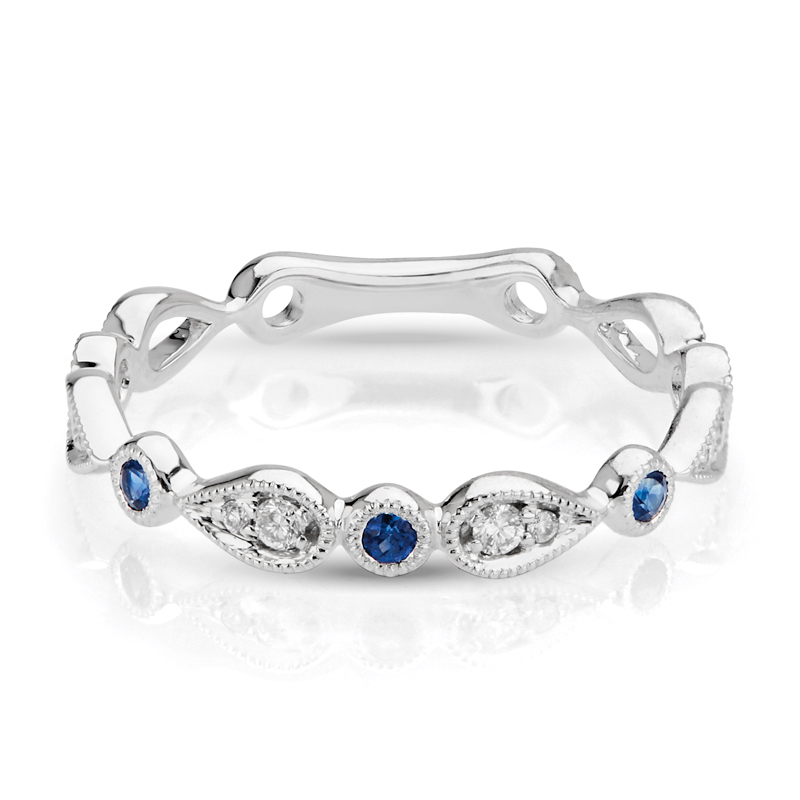 Petite Diamond & Sapphire Stackable Band