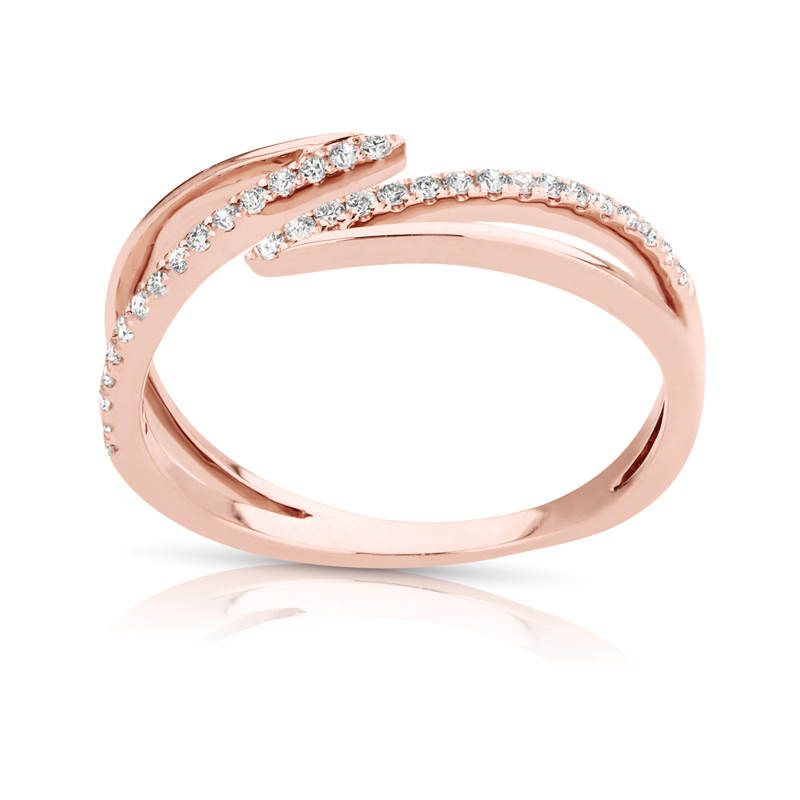 Split Open Diamond Band in Rose Gold