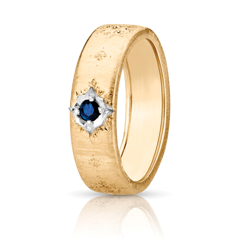 Wide Flat Blue Sapphire Band