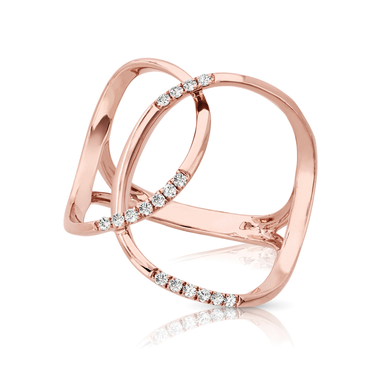 Intertwined Petite Abstract Band with Diamond Accents