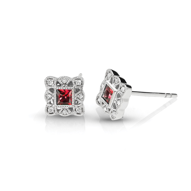 Princess Ruby & Diamond Halo Vintage Earrings