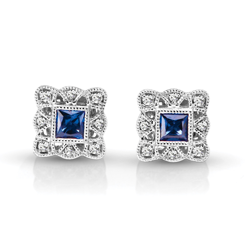 Princess Sapphire & Diamond Halo Vintage Earrings