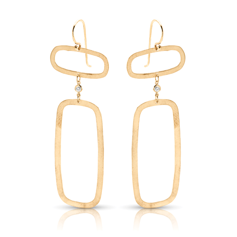 Connected Rectangular Dangling Diamond Earrings in Yellow Gold