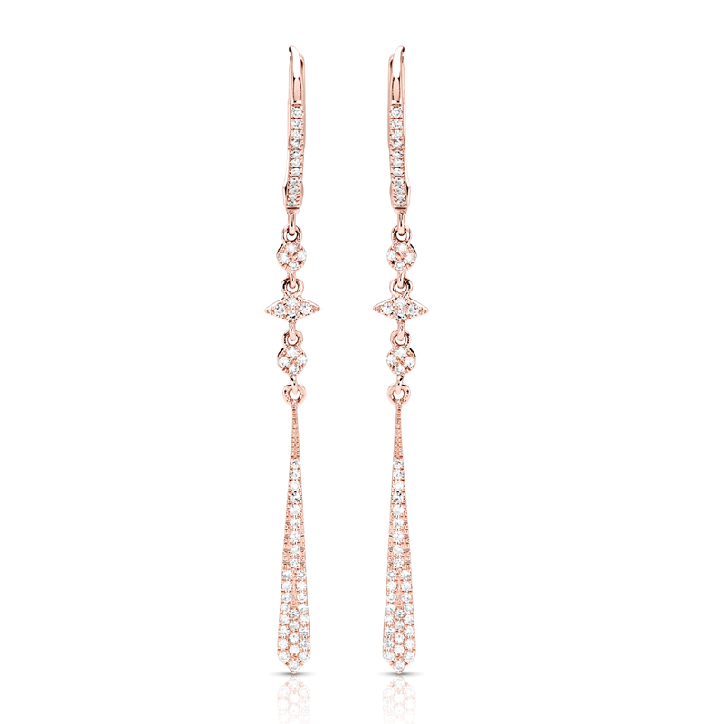 Drop Dangling Rose Gold Diamond Earrings