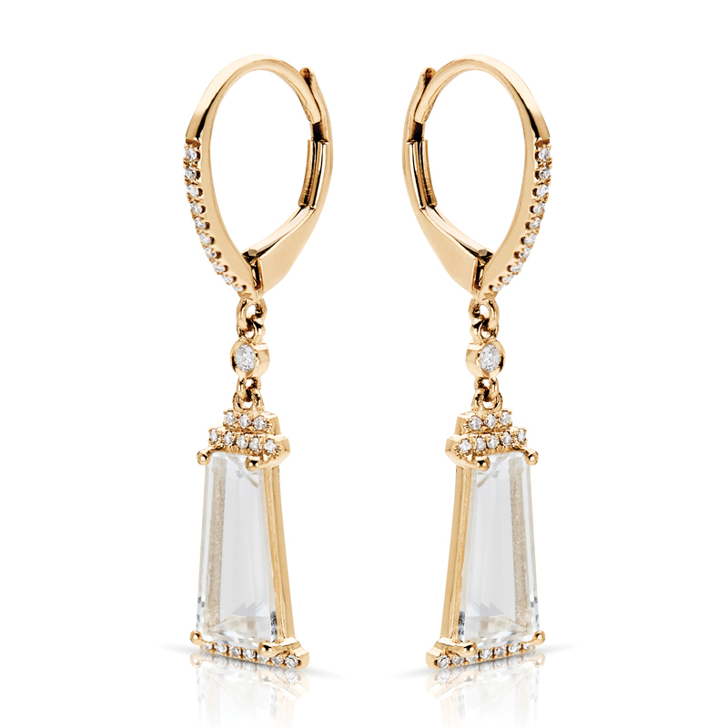 White Topaz & Diamond Drop Earrings in Yellow Gold