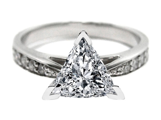 Trillion Diamond Cathedral Pave Engagement Ring 0.22 tcw.