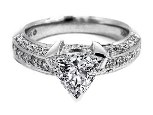 Vintage Style Trillion Engagement Ring 0.90 tcw. In 14K white gold