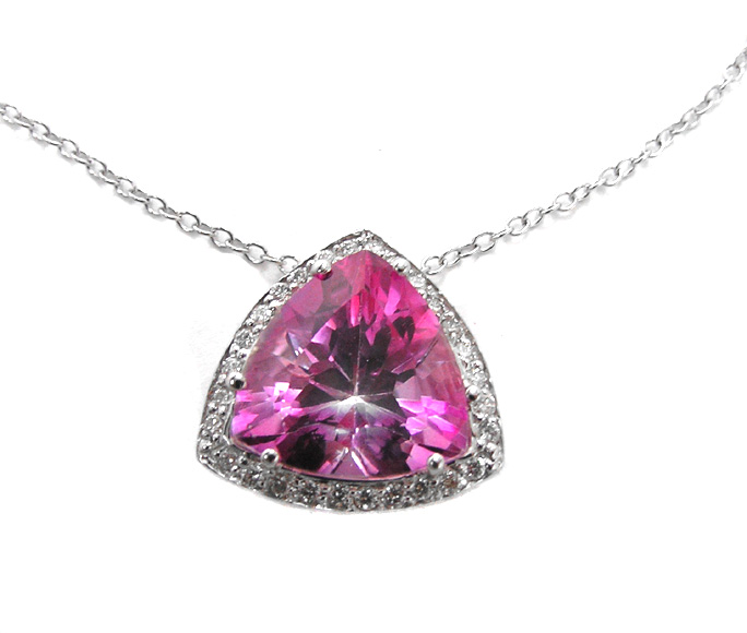 Trillion Shape Vivid Pink Topaz Pendant & Round Diamonds 3.28 tcw. In 14 Karat White Gold