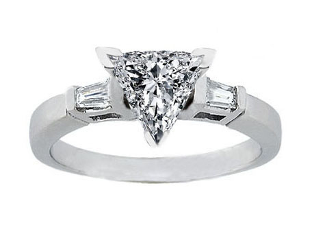 Trillion Diamond Engagement Ring Tapered Baguette Diamond Accents 0.20 tcw. In 14K White Gold