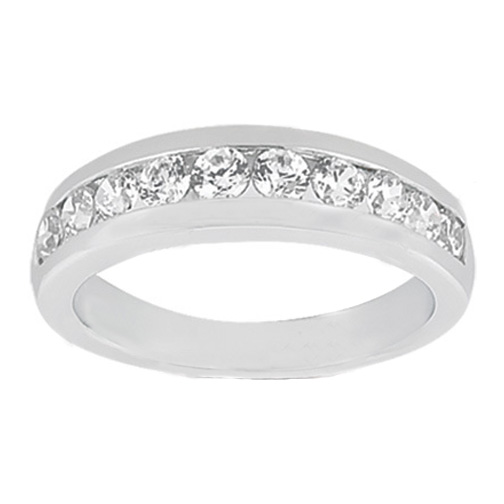 Ten Stone Round Diamond Channel set Wedding Band G SI1 0.51 tcw. In Platinum