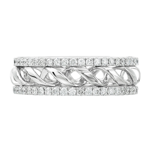 round diamond double helix eternity wedding band 094 tcw - Double Band Wedding Ring