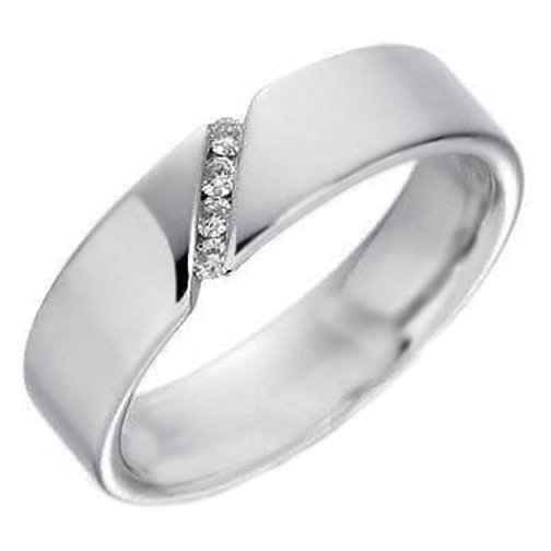 Four Stone Round Diamonds Wedding Band Channel Set in 14K White Gold