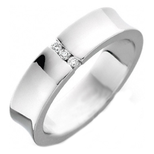 Three Stone Round Diamond Concave Wedding Band Channel Set in 14K White Gold
