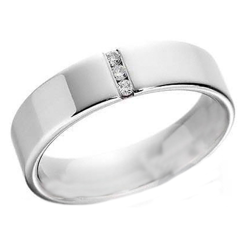Three Stone Round Diamond Wedding Band Channel Set in 14K White Gold