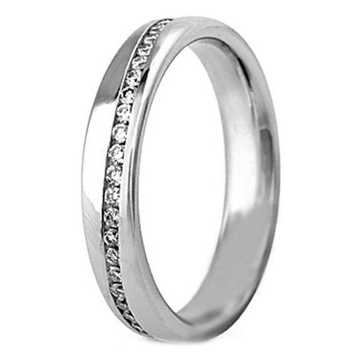 Round Diamond Swirl Wedding Ring 0.37 tcw. Channel Set in 14K White Gold